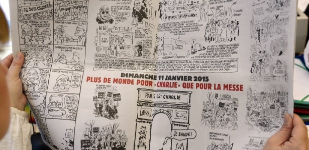 Editorial da 'Charlie' faz humor com jihadistas, virgens e mártires - Bertrand Guay/AFP