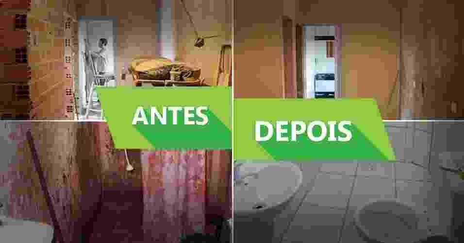 Montagem com antes e Depois de reformas em moradias no Jardim Ibirapuera, na Zona Sul de São Paulo; obras foram feitas pelo Projeto Vivenda - Divulgação