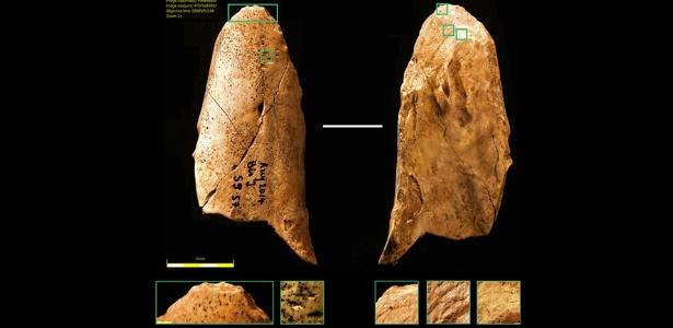 Ferramenta de osso descoberta em junho 2014 durante escavações na França - Reprodução/Universidade de Montreal