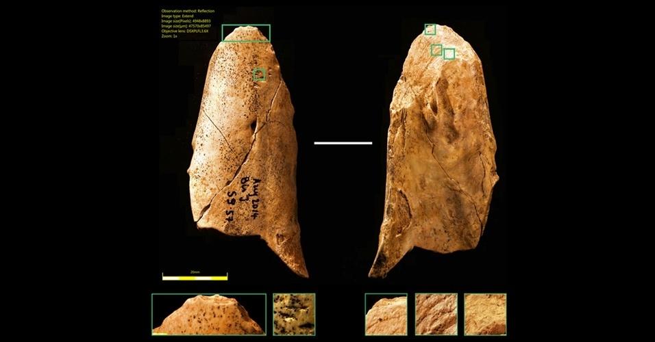 15.jan.2015 - Ferramenta de osso descoberta em junho 2014 durante as escavações anuais no Grotte du Bison em Arcy-sur-Cure, uma comuna francesa na região administrativa da Borgonha. O objeto sugere que os Neandertais eram capazes de compreender as propriedades mecânicas do osso e sabiam como usá-lo para fazer ferramentas, assim como os Homo sapiens