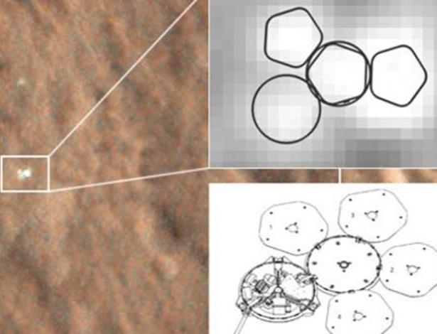 Imagens de alta resolução tiradas de órbita do planeta vermelho identificaram o local de pouso e a aparente integridade da sonda desaparecida