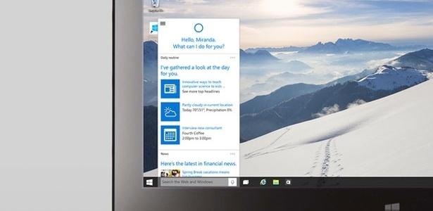 Tela principal do Windows 10 - Reprodução