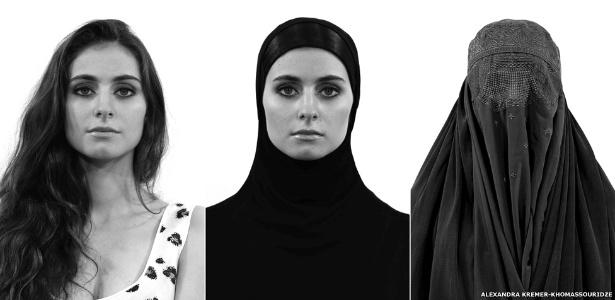 """A série """"Rostos da Liberdade"""", da fotógrafa Alexandra Kremer-Khomassouridze, retrata 50 mulheres de países, históricos e profissões diferentes, explorando percepções de identidade em relação ao uso de véus"""