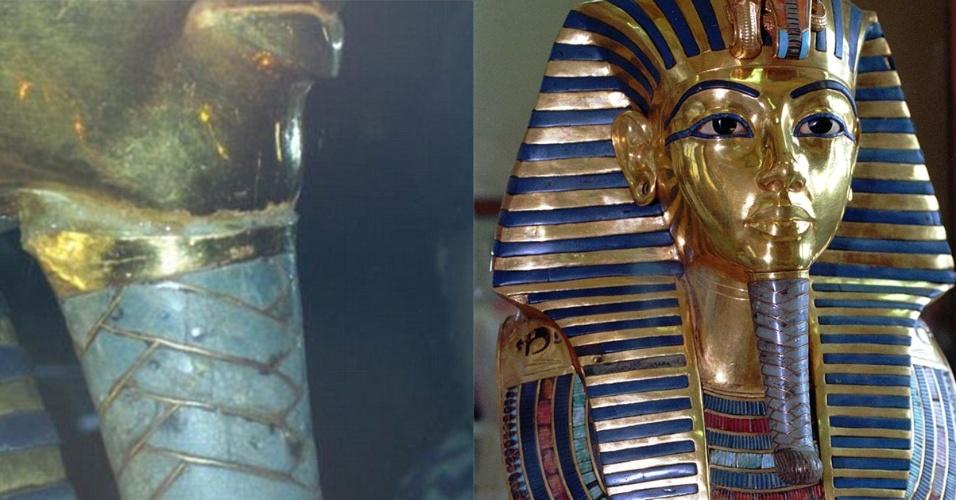 23.jan.2015 - Montagem traz detalhe do dano causado na máscara de enterro do rei Tutancâmon (à esq) e, à direita, a máscara antes do dano. A máscara foi danificada durante uma tentativa fracassada de limpeza. A barba trançada azul e dourada caiu e foi colada