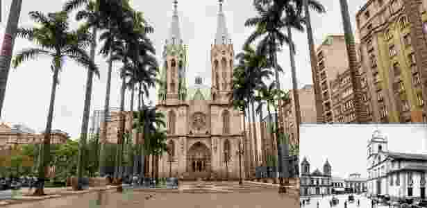 A Praça da Sé, em São Paulo, em imagem de 2014; no detalhe, a praça em foto de 1880 - Divulgação/Google e Divulgação