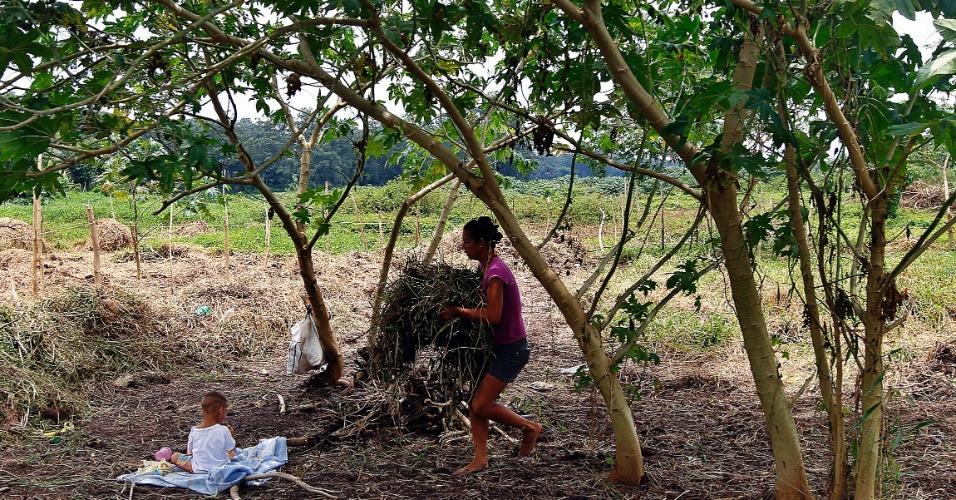29.jan.2015 - Margem seca da represa Billings é ocupada por moradores da região de Pedreira, extremo sul da capital paulista.