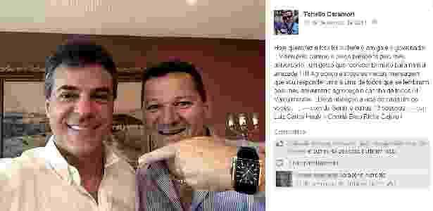Caramori postou no final de 2014, em uma rede social, uma foto ao lado do governador Beto Richa (PSDB). A assessoria de Richa nega que Caramori atuasse no Palácio Iguaçu - Reprodução