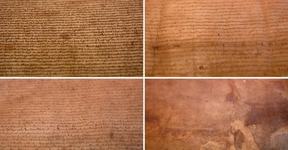 2.fev.2015 - Montagem mostra quatro cópias manuscritas da Carta Magna, que serviu de base à Declaração Universal dos Direitos do Homem, em exposição na Biblioteca Britânica, em Londres, nesta segunda-feira (2). As cópias originais completam 800 anos e são expostas juntas pela primeira vez