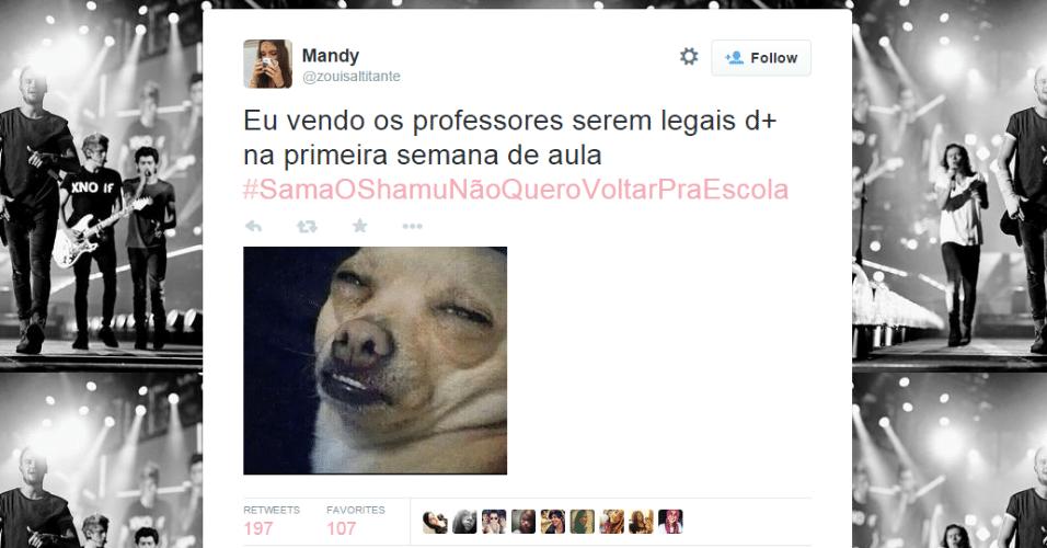 O retorno às aulas em grande parte das escolas do país rendeu muitos memes e piadas nas redes sociais. A hashtag #SamaOShamuNãoQueroVoltarPraEscola foi parar nos assuntos mais comentados do Twitter brasileiro. Confira algumas das piadas