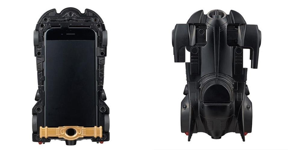 3.fev.2015 - Amantes dos personagens de Tim Burton já podem transformar seus iPhone 6 em um Batmóvel, com direito a iluminação de LED e  rodas de borracha. O gadget, que além do design extravagante, protege seu dispositivo de arranhões e de quedas, custa US$ 50 (aproximadamente R$ 134,70), segundo o site IGN