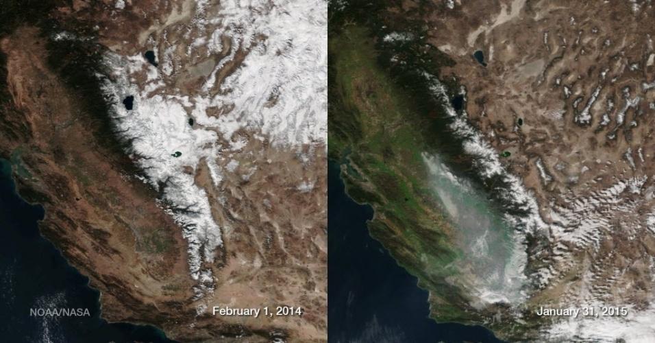 3.fev.2015 - Esta combinação foto feita pela Nasa em 2 de fevereiro mostra a neve acumulada nas montanhas Serra Nevada, na Califórnia, nos EUA. Uma série de correntes úmidas em dezembro de 2014 trouxe precipitação para a área devastada pela seca. O resultado é uma cobertura de terra visivelmente mais verde no início de 2015 (à direita) em comparação com o mesmo período do ano anterior (à esquerda). O Estado, no entanto, ainda está sofre com a seca extrema. Esta falta de chuva resultou na camada de neve mais baixa entre os dois anos