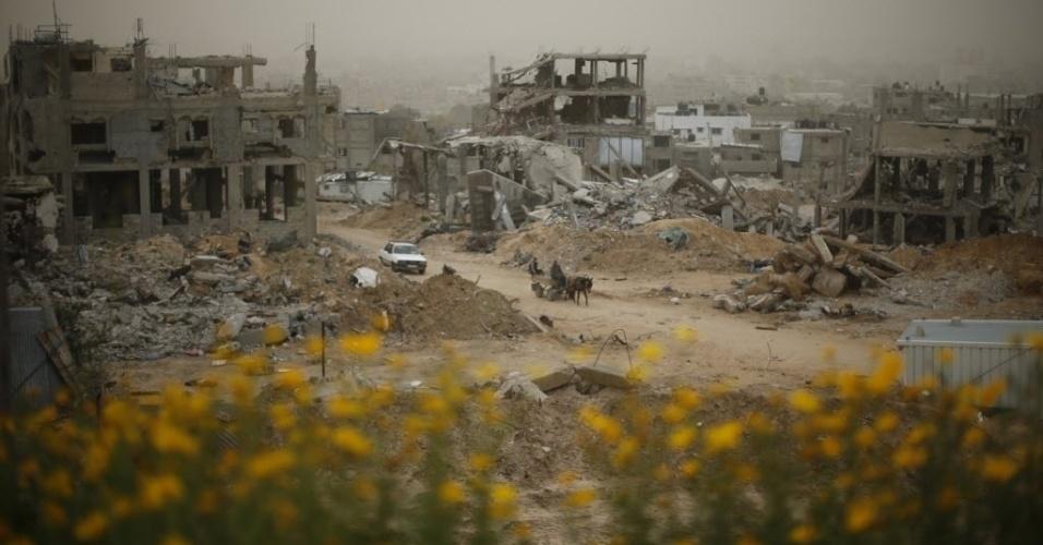 11.fev.2015 - Palestinos passam nesta quarta-feira (11) por casas e edifícios que foram destruídos por bombardeios israelenses durante o último conflito entre o movimento islâmico Hamas e Israel na faixa de Gaza, entre julho e agosto do ano passado, provocando a morte de 69 israelenses e mais de 2.200 palestinos, segundo a ONU