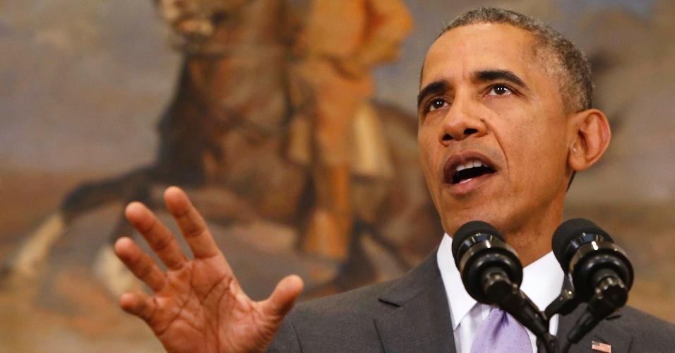 11.fev.2015 - Presidente dos EUA, Barack Obama, pediu nesta quarta-feira (11) ao Congresso a aprovação de sua proposta para fazer uso da força militar contra o grupo jihadista Estado Islâmico (EI). Obama afirmou que sua proposta está em linha com a estratégia internacional iniciada com uma