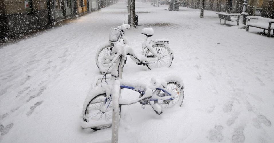 13.02.2015 - Duas bicicletas ficam cobertas de neve em Vitória, na Espanha