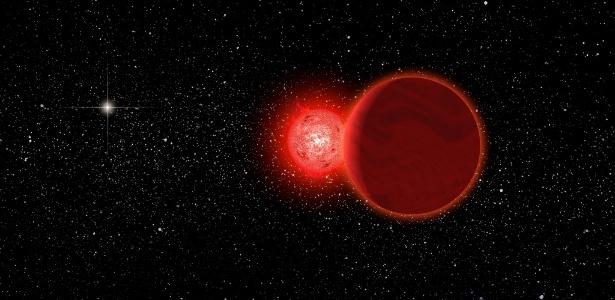 Uma representação artística da estrela Scholz, que atualmente está a 20 anos-luz de distância