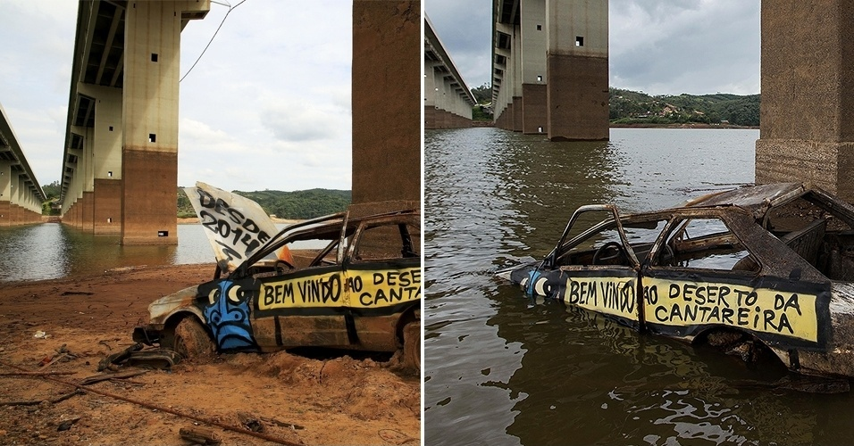 19.fev.2014 - As chuvas que têm atingido São Paulo em fevereiro estão recuperado o nível do sistema Cantareira, que fornece água para 6,5 milhões de pessoas na Grande São Paulo. Nesta quinta-feira (19), o reservatório subiu 0,6 ponto percentual, chegando a 9,5%, o percentual é o mesmo registrado há cerca de três meses. Com a elevação, carros que surgiram com a seca e não foram retirados voltam a ser encobertos pelas águas