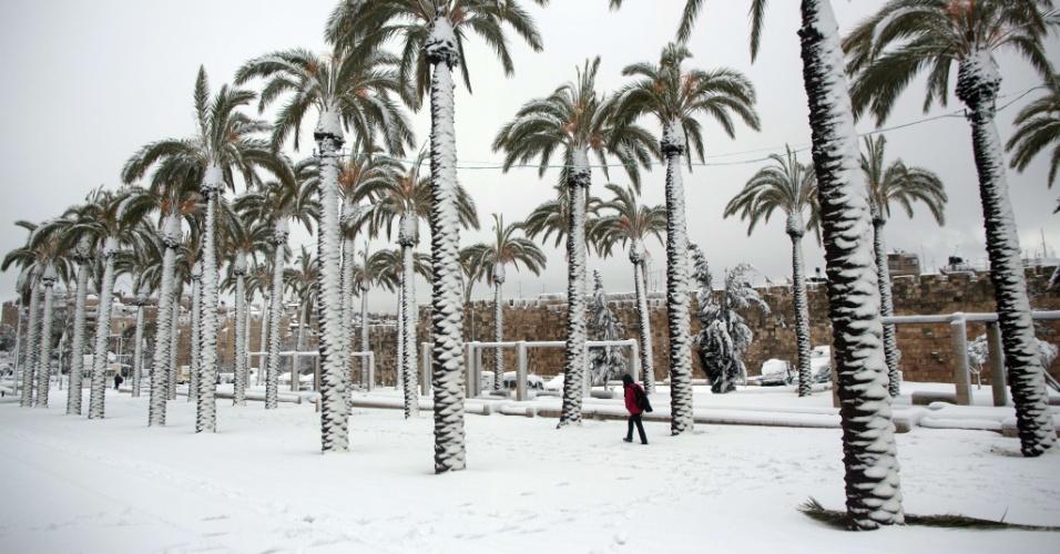 20.fev.2015 - Jerusalém, em Israel, acordou com cerca de 25 centímetros de neve depois que a segunda maior nevasca do inverno atingiu a Cidade Sagrada