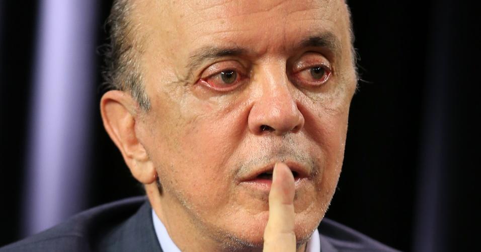 José Serra, senador pelo PSDB de São Paulo, concedeu entrevista ao UOL em 26.fev.2015. A gravação ocorreu no estúdio do UOL em Brasília.