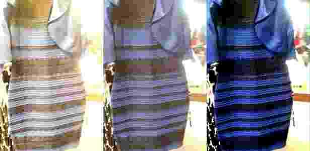 """""""Ilusão de luminosidade"""" faz o vestido mudar de cor (na terceira foto, a cor real) - Reprodução/Wired"""