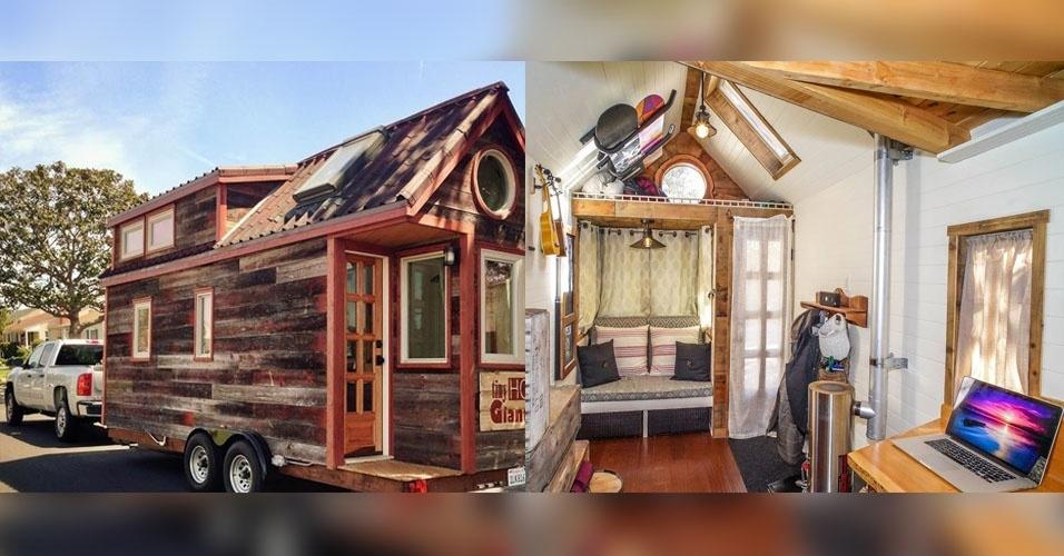 27.fev.2015 - 27.fev.2015 - O casal Guillaume Dutilh e Jenna Spesard, de Los Angeles (EUA), decidiu criar uma pequena casa que pudessem levar com eles durante uma viagem pela América do Norte. A casa tem 11,6 m², custou US$ 29,328 (aproximadamente R$ 85,303), e conta com sala, quarto, cozinha e um pequeno banheiro. Nos últimos cinco meses, eles viajaram por 25 Estados e partes do leste do Canadá. O projeto da construção da casa e os detalhes da viagem são registrados no site do projeto Tiny House, Giant Journey (