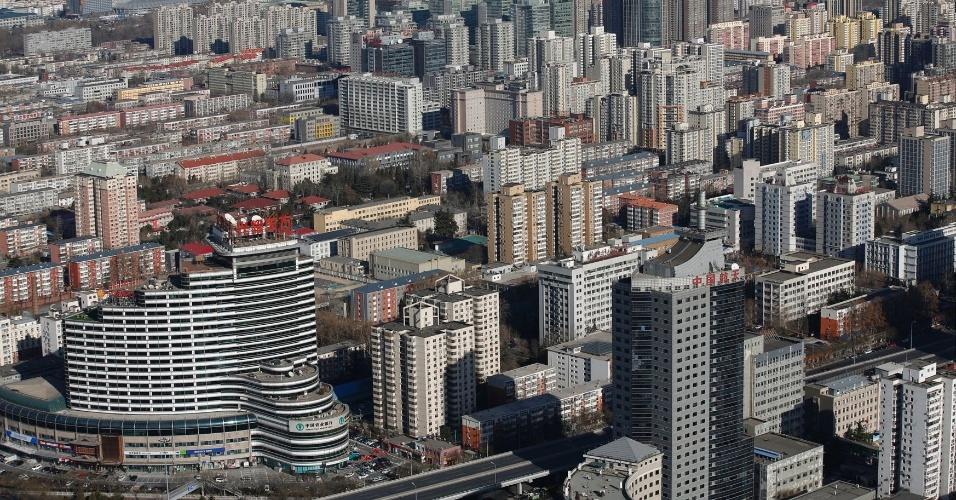 4.mar.2015 - Imagem aérea de Pequim em dia ensolarado (19 de dezembro de 2014)
