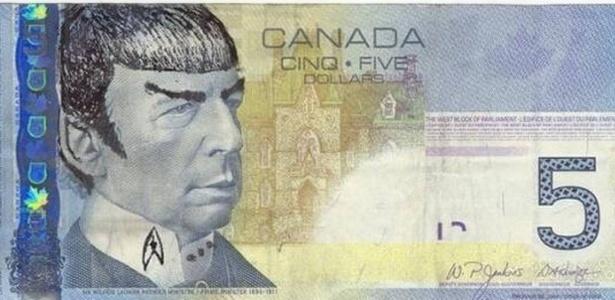 """Nota de 5 dólares canadense com """"homenagem"""" ao personagem Spock - Reprodução/Twitter"""
