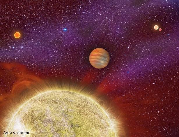 Planeta possui quatro sóis e tem 10 vezes a massa de Júpiter