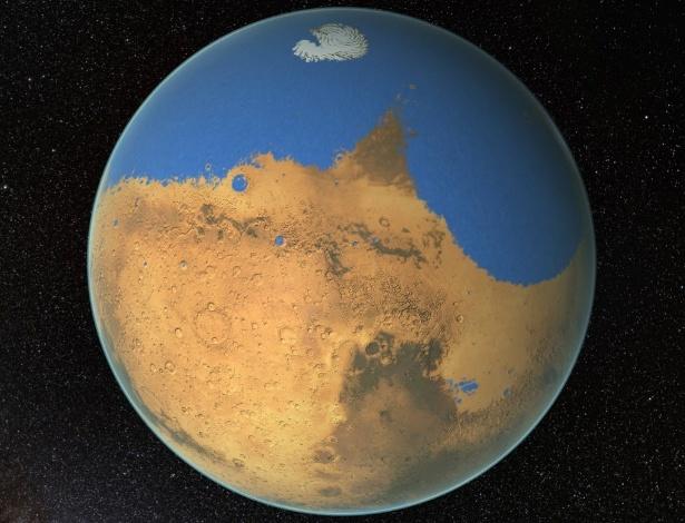Segundo cientistas, Marte já teve um oceano tão extenso quanto o ártico, porém ele perdeu 87% de sua água no espaço - NASA/EFE