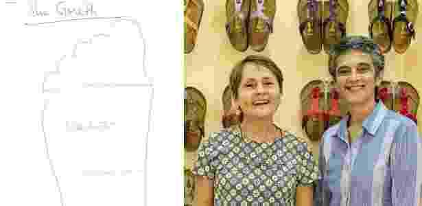 Desenho de pé enviado para a loja Perere e as sócias Patricia Guedes e  Ignez Giandalia Imagem  Divulgação 17f389511e054