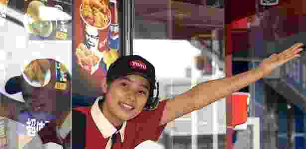 Funcionária da loja KFC (Kentucky Fried Chicken) dá as boas-vindas a consumidor em unidade drive-thru de Pequim, na China. O consumo ampliado de fast food é apontado como uma das causas no aumento de doenças cardiovasculares no país - Wilson Chu/Reuters
