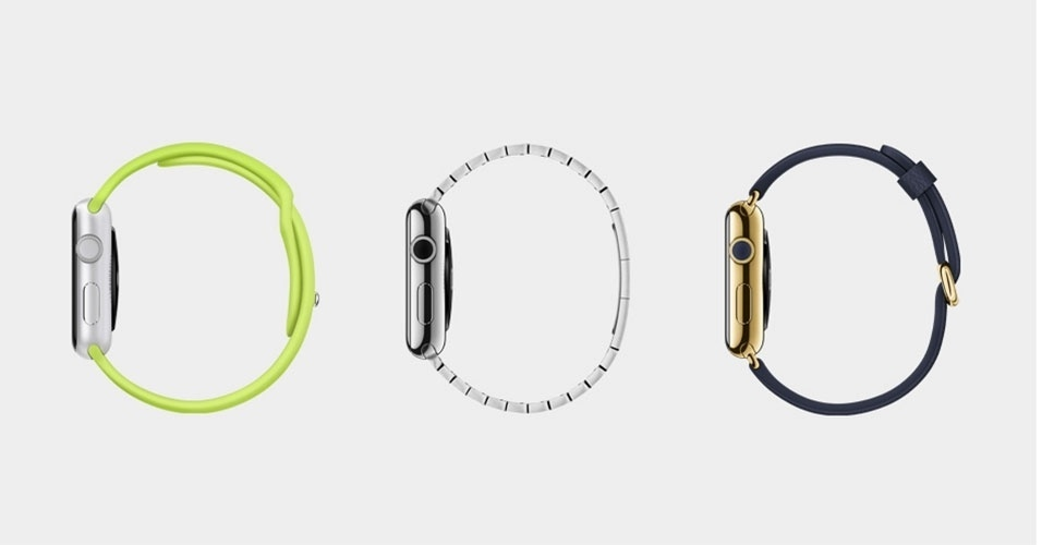Da esquerda para a direita, detalhes do Apple Watch Sports, Apple Watch e Apple Watch Edition (com detalhes de ouro 18 quilates)