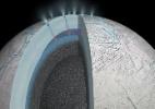 Sonda Cassini encontra sinal de reação entre água e rocha em lua de Saturno - JPL/NASA