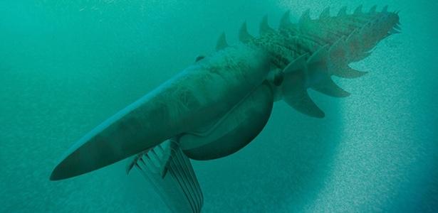 Ilustração do Aegirocassis benmoulae (da extinta família dos anomalocaridídeos), um monstro marinho similar a um crustáceo de dois metros de comprimento, que vagava pelos mares há 480 milhões de anos, e se alimentava de plâncton, assim como as baleias. É um dos maiores artrópodes que já viveu na Terra, segundo pesquisadores da Universidade de Oxford, no Reino Unido - Divulgação