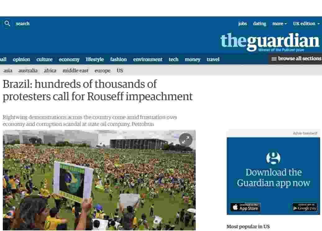15.mar.2015 - Diversos jornais internacionais noticiaram os protestos contra o governo federal realizados neste domingo (15) no país. No geral, eles destacaram o grande número de pessoas que foi às ruas contra a presidente Dilma Rousseff - Reprodução/Guardian