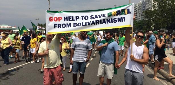 """No Rio, manifestantes pedem """"ajuda"""" ao Partido Republicano dos EUA - Gustavo Maia/UOL"""