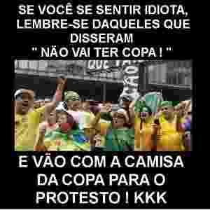 15.mar.2015 - Montagem critica manifestantes que protestaram contra a Copa do Mundo e foram para o ato do dia 15 com camisas da seleção brasileira de futebol - Reprodução