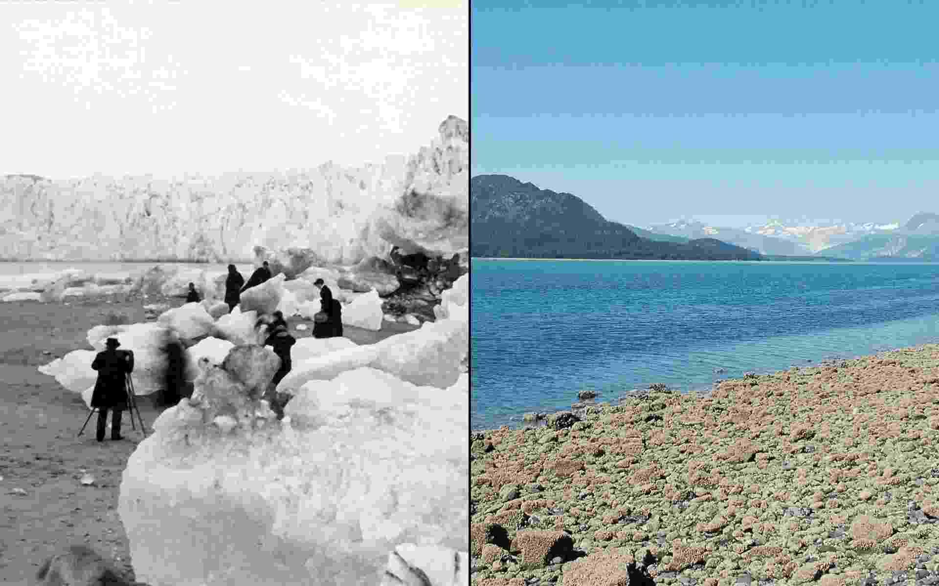 16.mar.2015 - A Nasa mantem uma galeria para mostrar mudanças no ambiente, seja por impacto das mudanças climáticas, intervenção urbana ou desastres ambientais. A paisagem da geleira Muir, no Alaska, foi registrada à esquerda no ano de 1882 e à direita mais de um século mais tarde, datada de agosto de 2005 - 1882/G.D. Hazard; 2005/Bruce F. Molnia/World Data Center for Glaciology