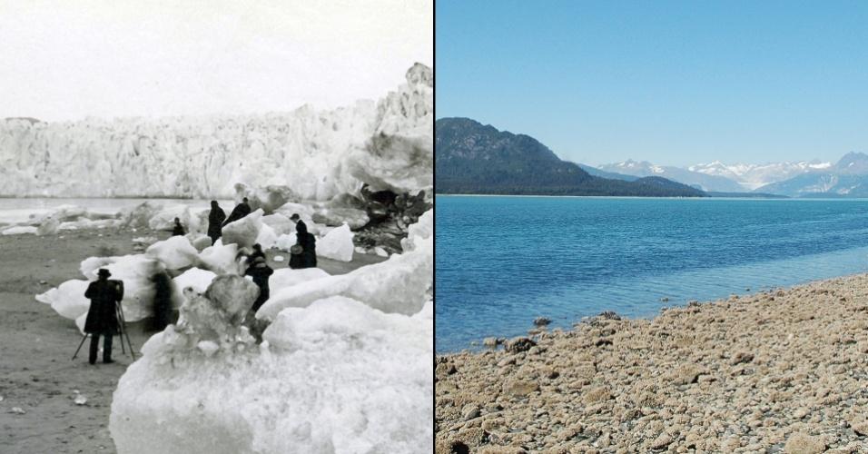 16.mar.2015 - A Nasa mantem uma galeria para mostrar mudanças no ambiente, seja por impacto das mudanças climáticas, intervenção urbana ou desastres ambientais. A paisagem da geleira Muir, no Alaska, foi registrada à esquerda no ano de 1882 e à direita mais de um século mais tarde, datada de agosto de 2005