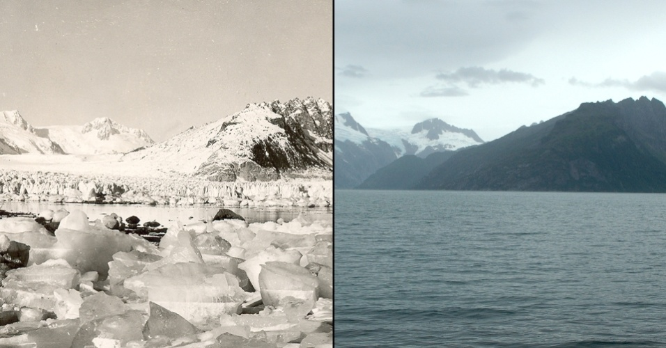 16.mar.2015 - Há uma notável diferença entre a imagem de 1940 (à esquerda) com a tirada em 2005 da Geleira do noroeste, no Alaska. Com poucas exceções, as geleiras de todo o mundo recuaram a taxas sem precedentes ao longo do século passado