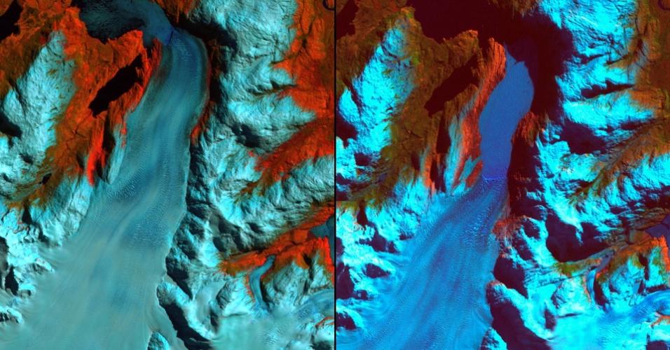 17.mar.2015 - A imagem de setembro de 1986 (á direita) mostra a região da Patagônia chilena antes de um grande recuo das geleiras. A imagem de agosto de 2002 mostra um recuo de quase 10 quilômetros. A geleira menor à direita recuou mais de 2 quilômetros. Na frente da geleira menor, dois lagos se formaram. Os cientistas e gestores do governo estão usando imagens de satélite como este para monitorar o recuo das geleiras e do impacto sobre as massas de água provocadas pelas mudanças no tamanho e direção das geleiras