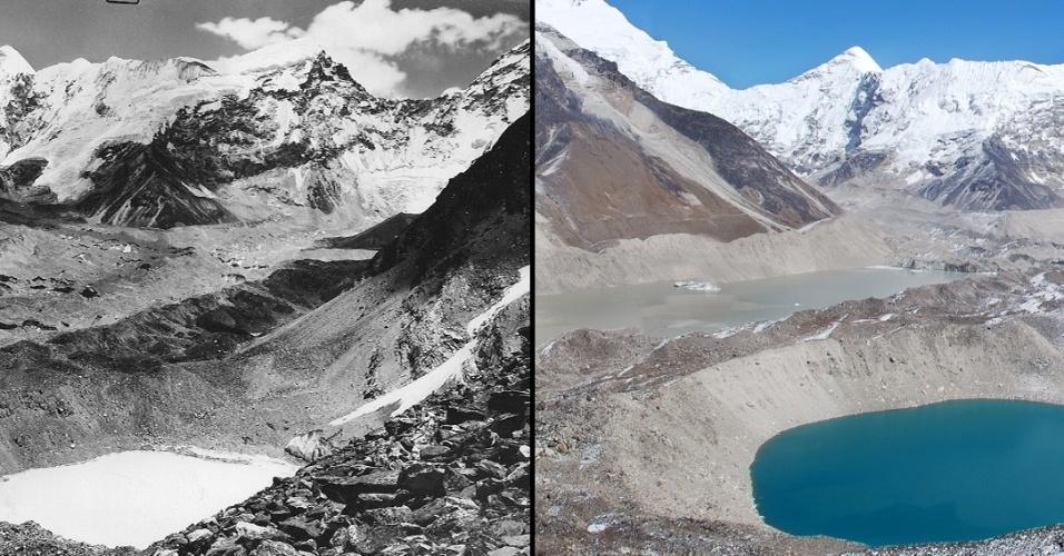 17.mar.2015 - As imagens da geleira Imja, nas cordilheiras do Himalaia entre China e Índia, tem meio século de diferença. À esquerda a foto de outuno de 1956, à direita outubro de 2007
