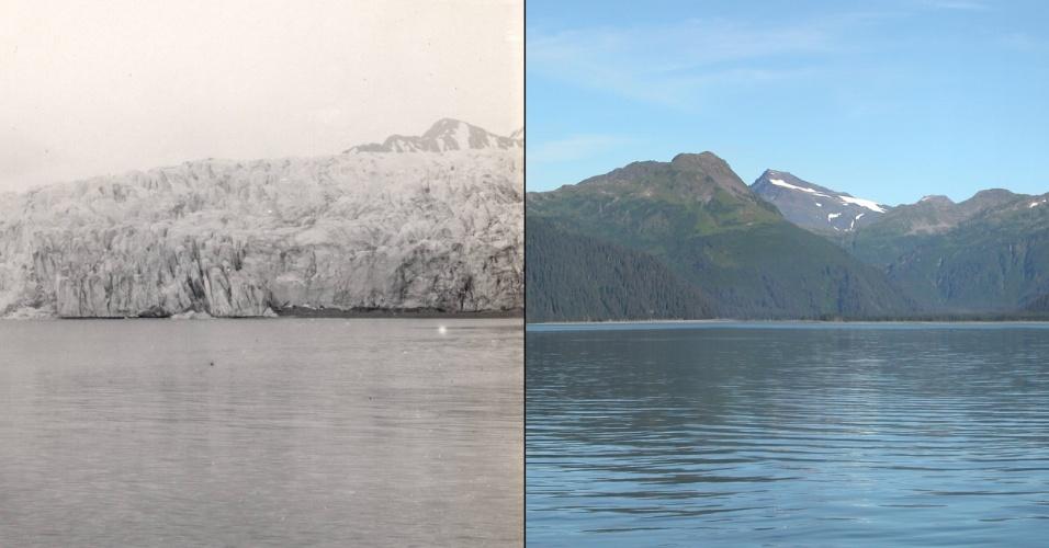 17.mar.2015 - Geleira McCarty localizada no sudeste do Alasca em duas imagens: à esquerda uma imagem de 1909, comparada à outra de 2004