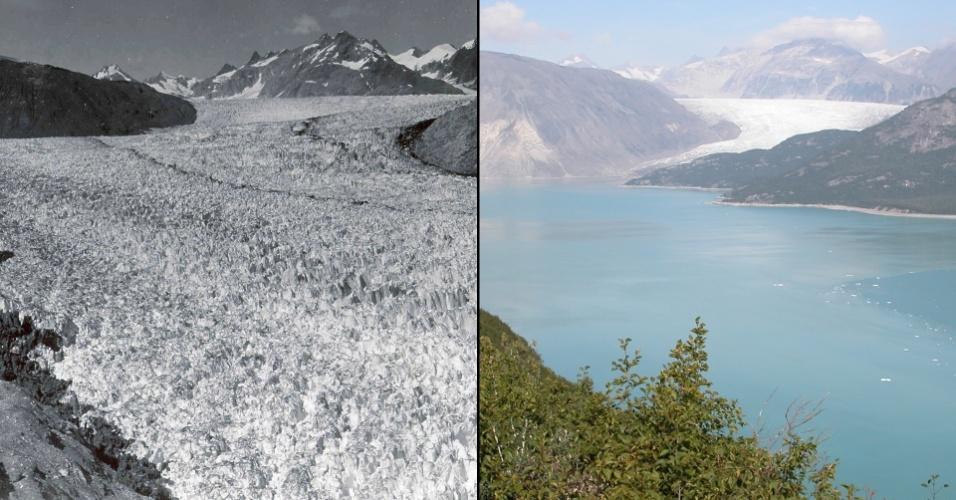 17.mar.2015 - Imagens da geleira de Muir, no Alaska. À esquerda, uma fotografia de 1941 comparada a outra de 2004