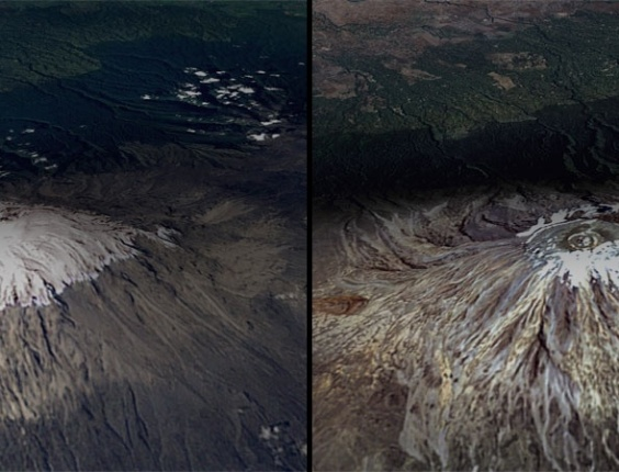 17.mar.2015 - O Monte Kilimanjaro, localizado na Tanzânia, é a mais alta montanha autônoma do mundo e é composta de três cones vulcânicos. A comparação das imagem de fevereiro de 1993 com a de fevereiro em 2000 mostra o declínio dramático da calota de gelo nas últimas décadas