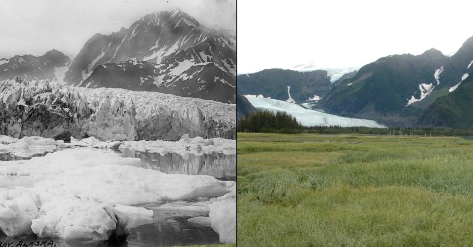 17.mar.2015 - As imagens comparam a situação da geleira Pedersen, no Alasca (EUA). A primeira foi feita em 1917 por Louis Pedersen. À direita uma fotografia de 2005