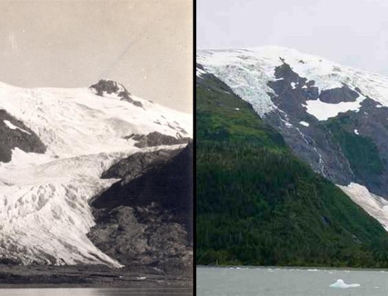 Toboggan Glacier melt, AlaskaO derretimento de outra geleira no Alasca, a Tobogann. A imagem de 2000 (colorida) é comparada com uma fotografia do início do século XX