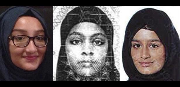 Kadiza Sultana, Amira Abase e Shamima Begum, as três adolescentes britânicas que fugiram para a Síria em fevereiro, para se juntar ao Estado Islâmico