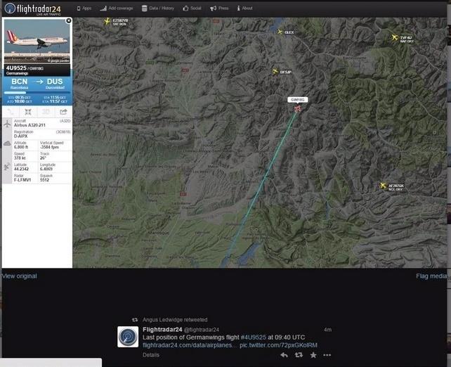 24.mar.2015 - Imagem de radar mostra a último posição do avião Airbus A320, da companhia alemã Germanwings, que caiu no sul da França. O Airbus A320 levava 142 passageiros e 6 tripulantes e ia de Barcelona, na Espanha, para Dusseldorf, na Alemanha