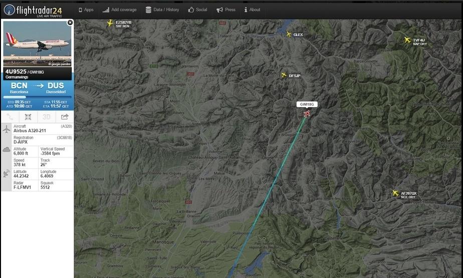 24.mar.2015 - Última posição do voo 4U9525, da Germanwings, que caiu nos Alpes, no Sul da França, nesta terça-feira (24); 148 pessoas estavam a bordo