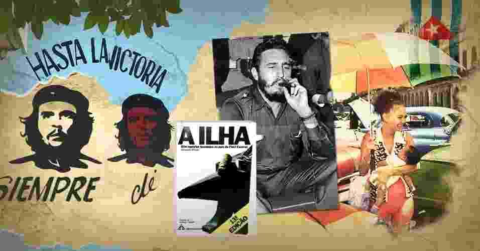 """Cuba antes e depois do livro brasileiro """"A Ilha"""" - Arte/UOL (FolhaPress, Armando Pereira Filho/UOL, Kimberly White/Reuters)"""